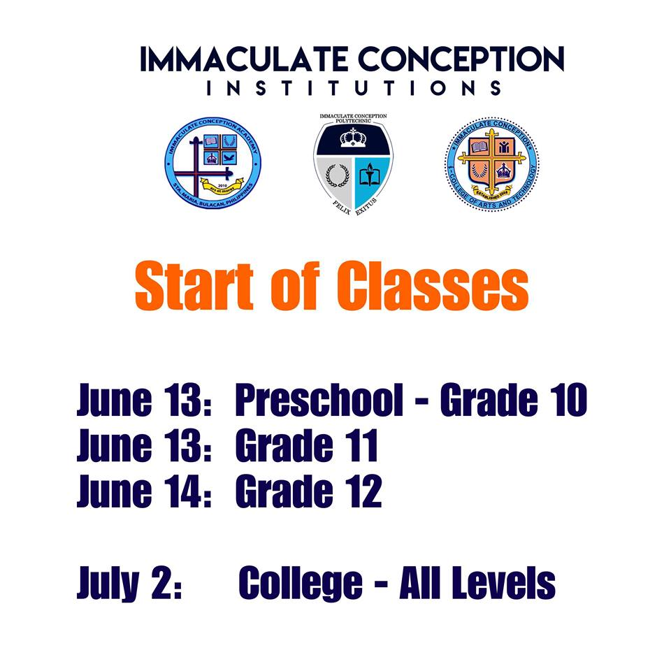 Start of Classes SY: 2018-2019